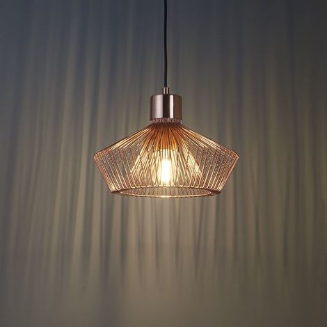 1 Light Copper Effect Plate Metal Caged Pendant Light Fitting Industrial Style