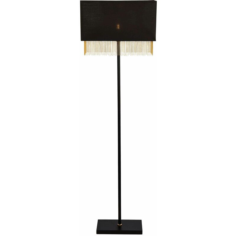 Image of 03-searchlight - 1-light fringe floor lamp - black shade with gold chain