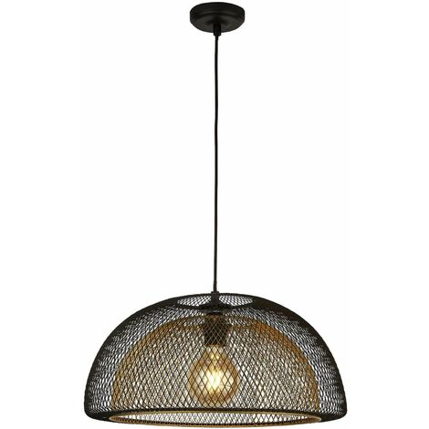 1-light honeycomb double layer mesh pendant light, black exterior with gold interior