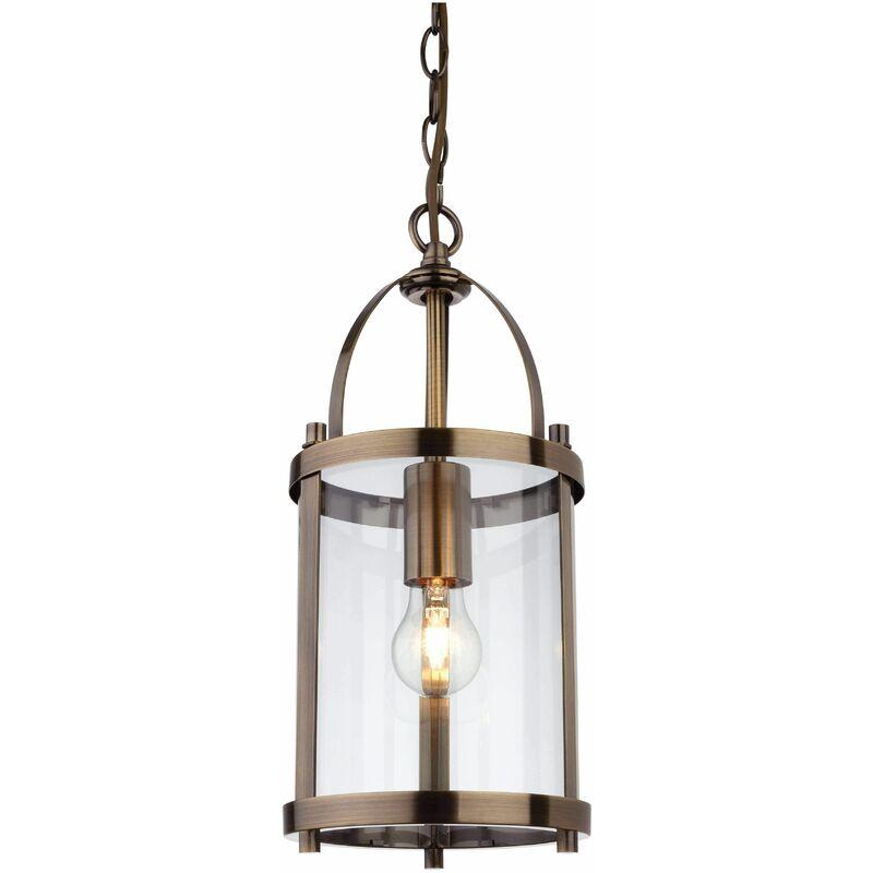 Image of Imperial - 1 Light Round Ceiling Pendant Lantern Antique Brass, E27 - Firstlight