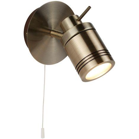 1 Light IP44 Bathroom Spot Wall Bracket Antique Brass by Washington Lighting