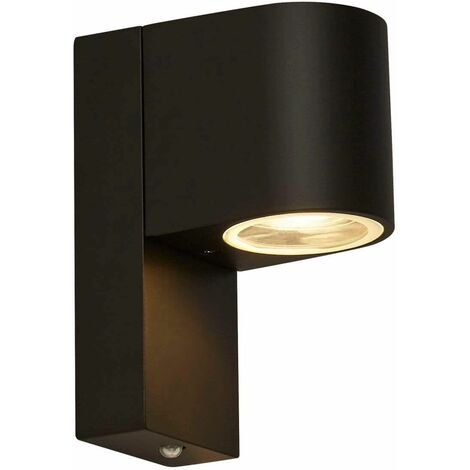 1-light outdoor wall light with dusk-to-dawn sensor, black