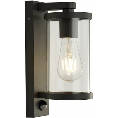 1-light outdoor wall light with pir - black with clear glass