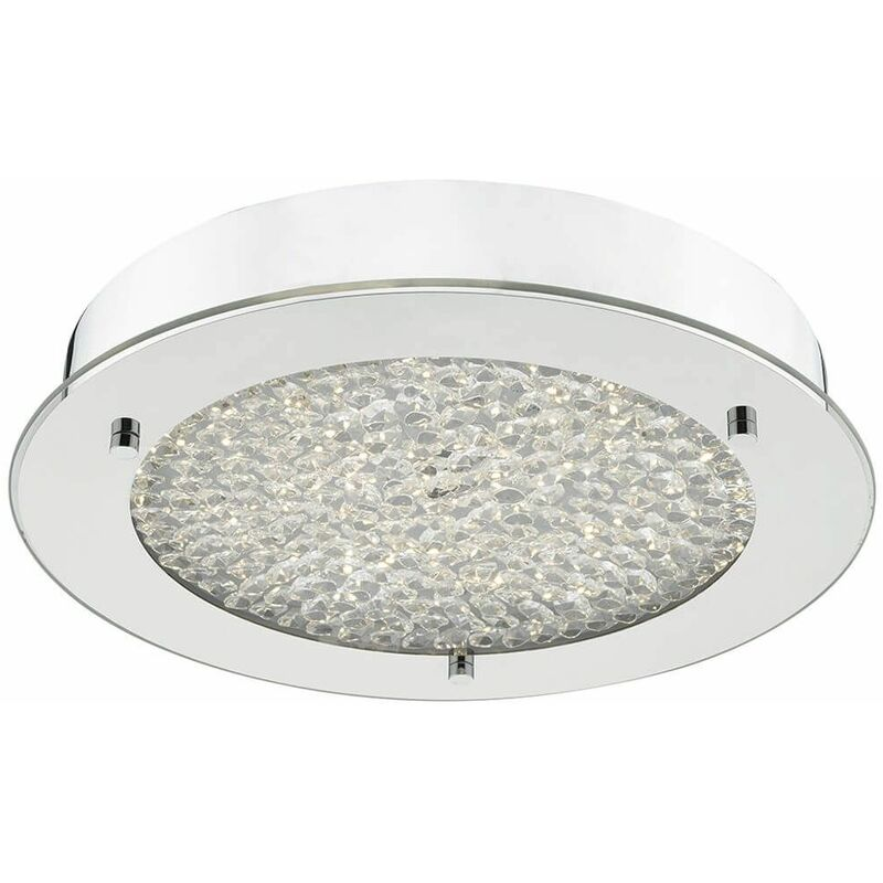 Image of 1-Light Polished Chrome Peta Crystal Ceiling Light