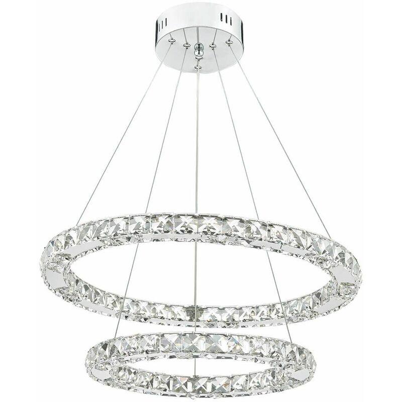 Image of 1-light Roma crystal and polished chrome pendant