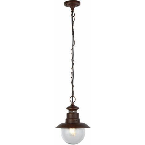 1-Light Station Outdoor Pendant - Rustic Brown with Clear Glass