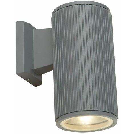 1-light transparent exterior wall light - gray with transparent glass diffuser