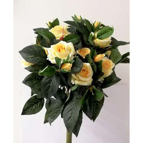 Fiori Gialli Per Bouquet.1 Mazzo Artificiale Di Rose Per Composizioni Giallo 51 Cm Fiori