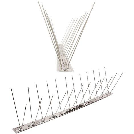 1 mètre pics anti pigeons 2 rangées V2A - solution de qualité pour contrôle des oiseaux base d'acier inoxidable de contrôle des oiseaux