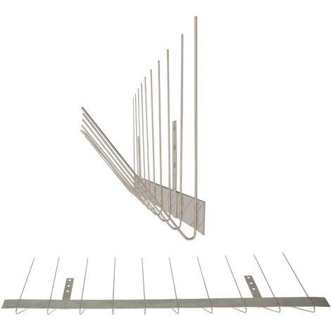 1 metro de Púas antipalomas para canalón -Standard con base de acero inoxidable - 2-hileras de Púas antipalomas la solución de calidad para el control de aves