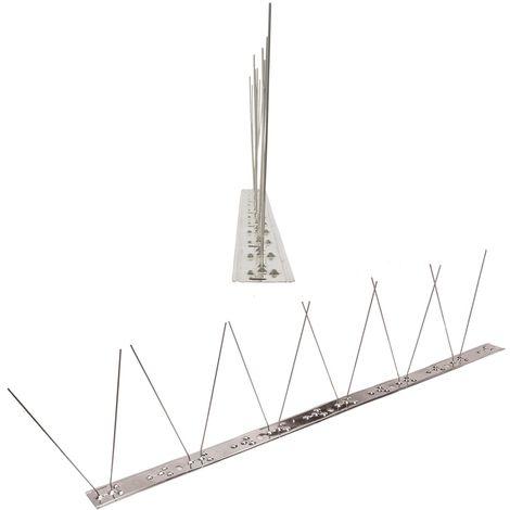 1 metro de Púas antipalomas V2A con base de Acero inoxidable flexible - 1-hileras de Púas antipalomas la solución de calidad para el control de aves
