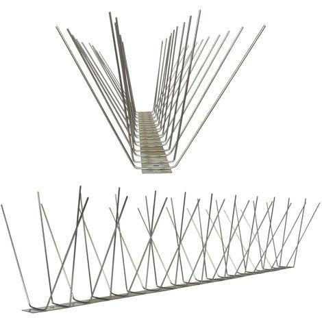 1 metro de Púas antipalomas V2A-Standard con base de acero inoxidable - 4-hileras de Púas antipalomas la solución de calidad para el control de aves