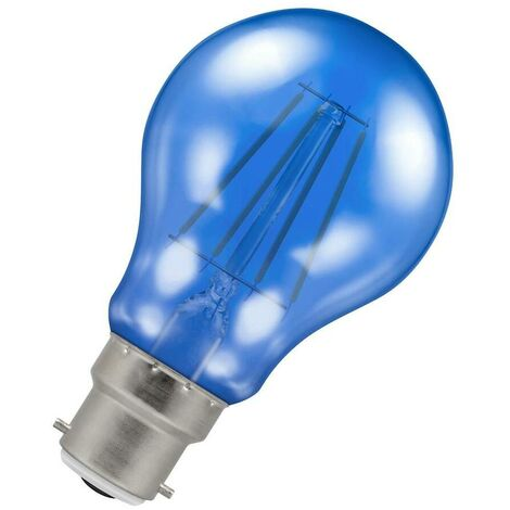 (1 Pack) Crompton Lamps LED GLS 4.5W BC-B22d Harlequin IP65 (25W Equivalent) Blue Translucent BC Bayonet B22 A60 Outdoor Festoon Coloured Filament Light Bulb