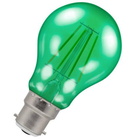 (1 Pack) Crompton Lamps LED GLS 4.5W BC-B22d Harlequin IP65 (25W Equivalent) Green Translucent BC Bayonet B22 A60 Outdoor Festoon Coloured Filament Light Bulb