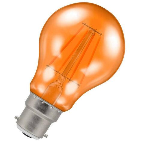 (1 Pack) Crompton Lamps LED GLS 4.5W BC-B22d Harlequin IP65 (25W Equivalent) Orange Translucent BC Bayonet B22 A60 Outdoor Festoon Coloured Filament Light Bulb