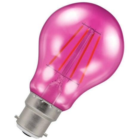 (1 Pack) Crompton Lamps LED GLS 4.5W BC-B22d Harlequin IP65 (25W Equivalent) Pink Translucent BC Bayonet B22 A60 Outdoor Festoon Coloured Filament Light Bulb