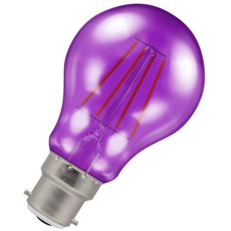 (1 Pack) Crompton Lamps LED GLS 4.5W BC-B22d Harlequin IP65 (25W Equivalent) Purple Translucent BC Bayonet B22 A60 Outdoor Festoon Coloured Filament Light Bulb