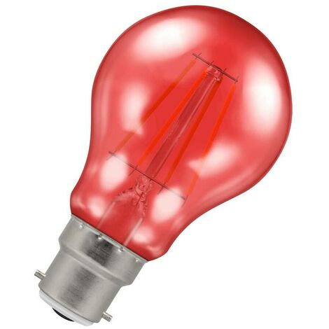 (1 Pack) Crompton Lamps LED GLS 4.5W BC-B22d Harlequin IP65 (25W Equivalent) Red Translucent BC Bayonet B22 A60 Outdoor Festoon Coloured Filament Light Bulb