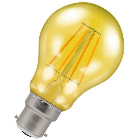(1 Pack) Crompton Lamps LED GLS 4.5W BC-B22d Harlequin IP65 (25W Equivalent) Yellow Translucent BC Bayonet B22 A60 Outdoor Festoon Coloured Filament Light Bulb