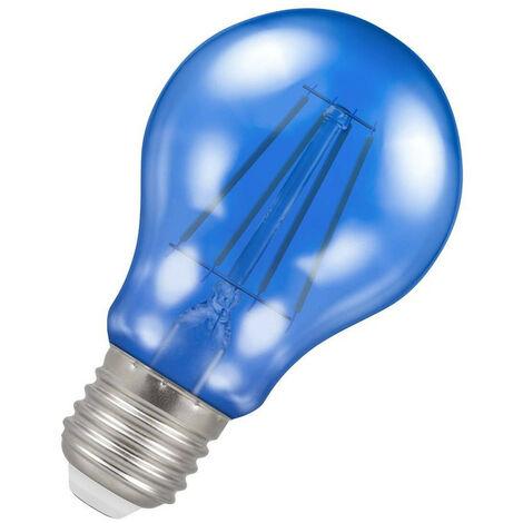 (1 Pack) Crompton Lamps LED GLS 4.5W ES-E27 Harlequin IP65 (25W Equivalent) Blue Translucent ES Screw E27 A60 Outdoor Festoon Coloured Filament Light Bulb