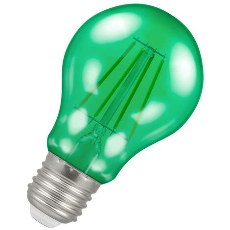(1 Pack) Crompton Lamps LED GLS 4.5W ES-E27 Harlequin IP65 (25W Equivalent) Green Translucent ES Screw E27 A60 Outdoor Festoon Coloured Filament Light Bulb