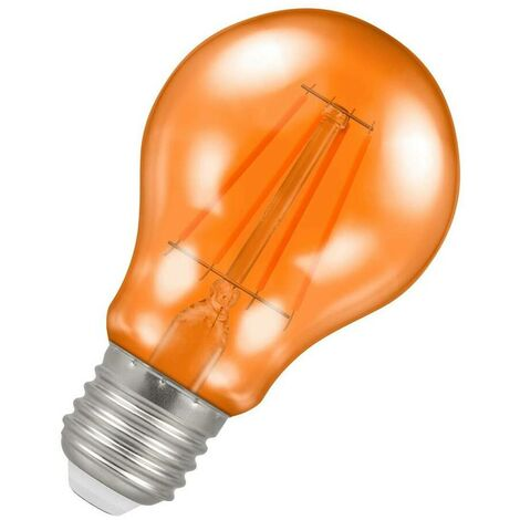 (1 Pack) Crompton Lamps LED GLS 4.5W ES-E27 Harlequin IP65 (25W Equivalent) Orange Translucent ES Screw E27 A60 Outdoor Festoon Coloured Filament Light Bulb