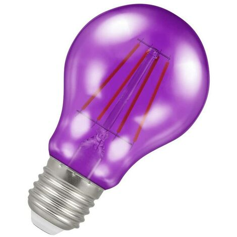 (1 Pack) Crompton Lamps LED GLS 4.5W ES-E27 Harlequin IP65 (25W Equivalent) Purple Translucent ES Screw E27 A60 Outdoor Festoon Coloured Filament Light Bulb