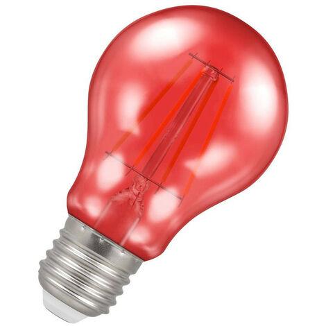 (1 Pack) Crompton Lamps LED GLS 4.5W ES-E27 Harlequin IP65 (25W Equivalent) Red Translucent ES Screw E27 A60 Outdoor Festoon Coloured Filament Light Bulb