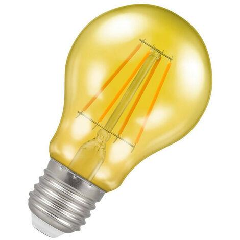 (1 Pack) Crompton Lamps LED GLS 4.5W ES-E27 Harlequin IP65 (25W Equivalent) Yellow Translucent ES Screw E27 A60 Outdoor Festoon Coloured Filament Light Bulb