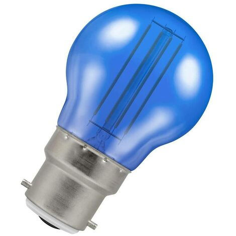 (1 Pack) Crompton Lamps LED Golfball 4.5W BC-B22d Harlequin IP65 (25W Equivalent) Blue Translucent BC Bayonet B22 Round Outdoor Festoon Coloured Filament Light Bulb