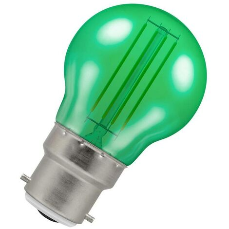 (1 Pack) Crompton Lamps LED Golfball 4.5W BC-B22d Harlequin IP65 (25W Equivalent) Green Translucent BC Bayonet B22 Round Outdoor Festoon Coloured Filament Light Bulb