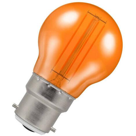 (1 Pack) Crompton Lamps LED Golfball 4.5W BC-B22d Harlequin IP65 (25W Equivalent) Orange Translucent BC Bayonet B22 Round Outdoor Festoon Coloured Filament Light Bulb