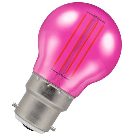 (1 Pack) Crompton Lamps LED Golfball 4.5W BC-B22d Harlequin IP65 (25W Equivalent) Pink Translucent BC Bayonet B22 Round Outdoor Festoon Coloured Filament Light Bulb