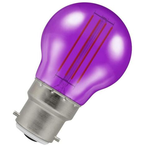 (1 Pack) Crompton Lamps LED Golfball 4.5W BC-B22d Harlequin IP65 (25W Equivalent) Purple Translucent BC Bayonet B22 Round Outdoor Festoon Coloured Filament Light Bulb