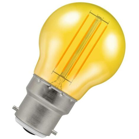 (1 Pack) Crompton Lamps LED Golfball 4.5W BC-B22d Harlequin IP65 (25W Equivalent) Yellow Translucent BC Bayonet B22 Round Outdoor Festoon Coloured Filament Light Bulb