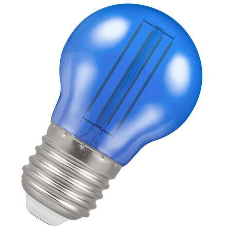 (1 Pack) Crompton Lamps LED Golfball 4.5W ES-E27 Harlequin IP65 (25W Equivalent) Blue Translucent ES Screw E27 Round Outdoor Festoon Coloured Filament Light Bulb