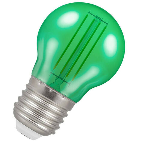 (1 Pack) Crompton Lamps LED Golfball 4.5W ES-E27 Harlequin IP65 (25W Equivalent) Green Translucent ES Screw E27 Round Outdoor Festoon Coloured Filament Light Bulb
