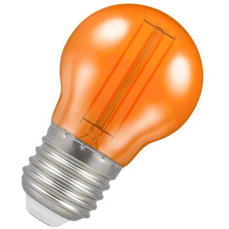 (1 Pack) Crompton Lamps LED Golfball 4.5W ES-E27 Harlequin IP65 (25W Equivalent) Orange Translucent ES Screw E27 Round Outdoor Festoon Coloured Filament Light Bulb
