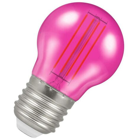 (1 Pack) Crompton Lamps LED Golfball 4.5W ES-E27 Harlequin IP65 (25W Equivalent) Pink Translucent ES Screw E27 Round Outdoor Festoon Coloured Filament Light Bulb