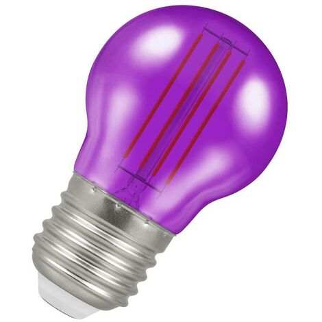 (1 Pack) Crompton Lamps LED Golfball 4.5W ES-E27 Harlequin IP65 (25W Equivalent) Purple Translucent ES Screw E27 Round Outdoor Festoon Coloured Filament Light Bulb
