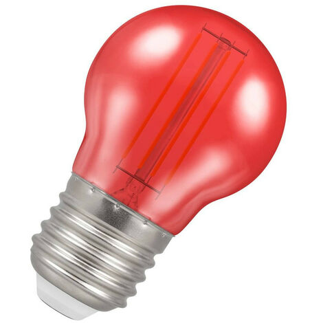 (1 Pack) Crompton Lamps LED Golfball 4.5W ES-E27 Harlequin IP65 (25W Equivalent) Red Translucent ES Screw E27 Round Outdoor Festoon Coloured Filament Light Bulb