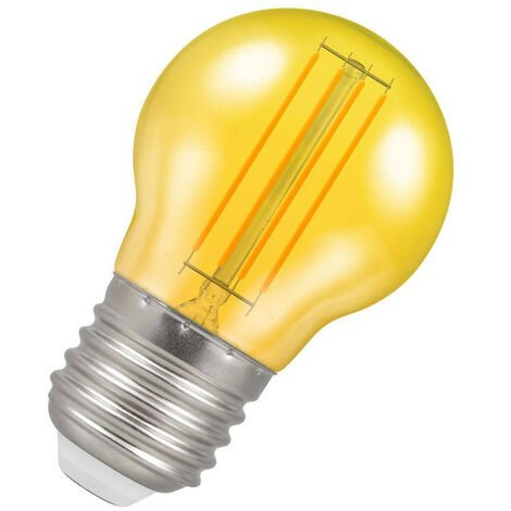 (1 Pack) Crompton Lamps LED Golfball 4.5W ES-E27 Harlequin IP65 (25W Equivalent) Yellow Translucent ES Screw E27 Round Outdoor Festoon Coloured Filament Light Bulb