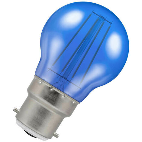 (1 Pack) Crompton Lamps LED Golfball 4W BC-B22d Harlequin IP65 (25W Equivalent) Blue Translucent BC Bayonet B22 Round Coloured Festoon Outdoor Filament Light Bulb