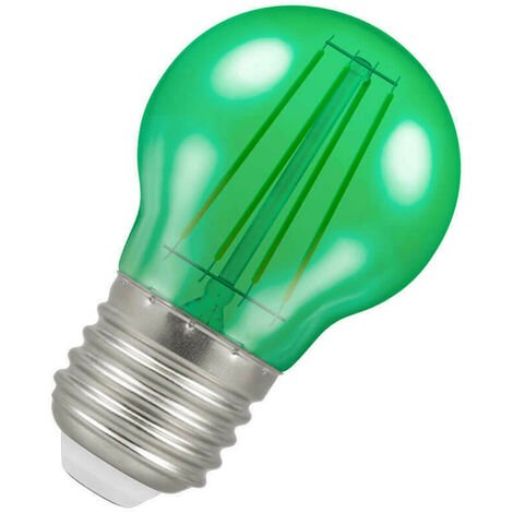(1 Pack) Crompton Lamps LED Golfball 4W ES-E27 Harlequin IP65 (25W Equivalent) Green Translucent ES Screw E27 Round Outdoor Festoon Coloured Filament Light Bulb