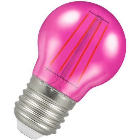 (1 Pack) Crompton Lamps LED Golfball 4W ES-E27 Harlequin IP65 (25W Equivalent) Pink Translucent ES Screw E27 Round Outdoor Festoon Coloured Filament Light Bulb