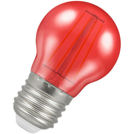 (1 Pack) Crompton Lamps LED Golfball 4W ES-E27 Harlequin IP65 (25W Equivalent) Red Translucent ES Screw E27 Round Outdoor Festoon Coloured Filament Light Bulb
