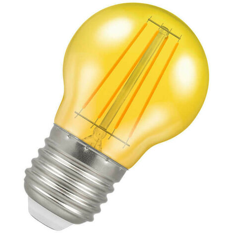(1 Pack) Crompton Lamps LED Golfball 4W ES-E27 Harlequin IP65 (25W Equivalent) Yellow Translucent ES Screw E27 Round Outdoor Festoon Coloured Filament Light Bulb
