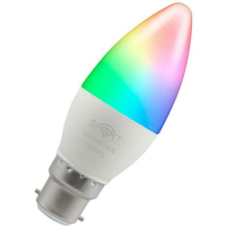 (1 Pack) Crompton Lamps LED Smart Wifi Candle 5W BC-B22d Dimmable (40W Equivalent) 3000K Warm White + RGB Opal 470lm BC Bayonet B22 Amazon Alexa TUYA Colour Changing Thermal Plastic Google Home Light Bulb