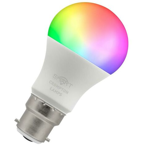 (1 Pack) Crompton Lamps LED Smart Wifi GLS 8.5W BC-B22d Dimmable (60W Equivalent) 3000K Warm White + RGB Opal 806lm BC Bayonet B22 A60 Amazon Alexa TUYA Colour Changing Thermal Plastic Google Home Light Bulb