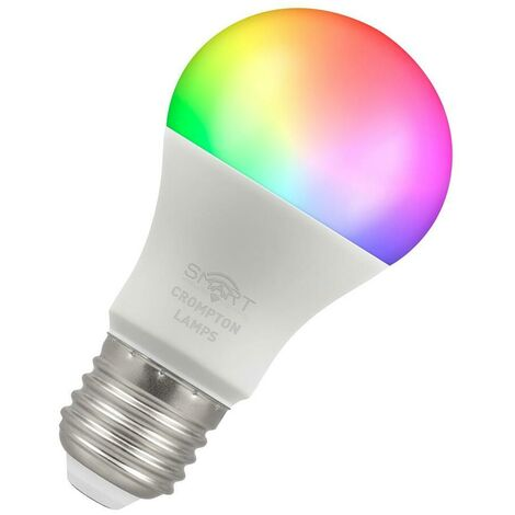 (1 Pack) Crompton Lamps LED Smart Wifi GLS 8.5W ES-E27 Dimmable (60W Equivalent) 3000K Warm White + RGB Opal 806lm ES Screw E27 A60 Amazon Alexa TUYA Colour Changing Thermal Plastic Google Home Light Bulb